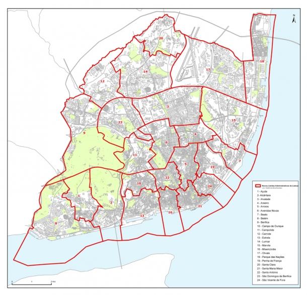 lisboa areeiro mapa Novas Freguesias de Lisboa  Online24 lisboa areeiro mapa